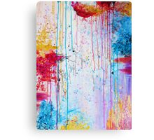 HAPPY TEARS - Bright Cheerful Rainy Day Abstract, Pretty Feminine Whimsical Acrylic Fine Art Painting Canvas Print