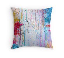 HAPPY TEARS - Bright Cheerful Rainy Day Abstract, Pretty Feminine Whimsical Acrylic Fine Art Painting Throw Pillow