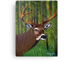 Buck by the forest Canvas Print