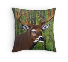 Buck by the forest Throw Pillow