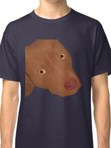 Cute Red Nose Pitbull Portrait - Vector Art Classic T-Shirt