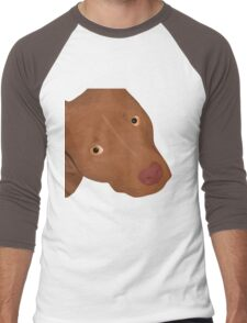 Cute Red Nose Pitbull Portrait - Vector Art Men's Baseball ¾ T-Shirt