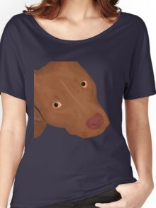 Cute Red Nose Pitbull Portrait - Vector Art Women's Relaxed Fit T-Shirt