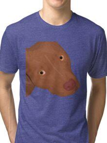 Cute Red Nose Pitbull Portrait - Vector Art Tri-blend T-Shirt