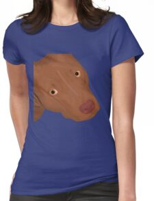 Cute Red Nose Pitbull Portrait - Vector Art Womens Fitted T-Shirt