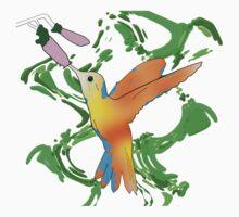 Hummingbird in Hot Orange Colors - Line Art Kids Tee