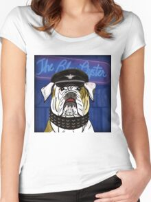Funny and Tough Bulldog, Blue Oyster Sign in the Background Women's Fitted Scoop T-Shirt