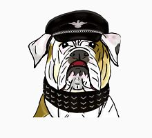 Funny and Tough Bulldog Wearing Leather Hat and Collar Unisex T-Shirt