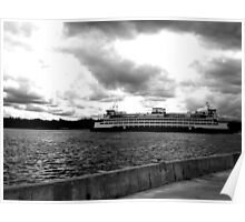 Ferry to Seattle - Black and White Poster