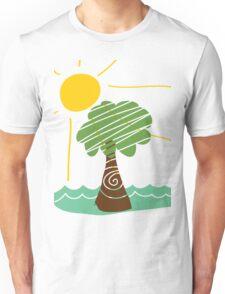 Island Breeze Sun and Palm Tree Ocean Unisex T-Shirt