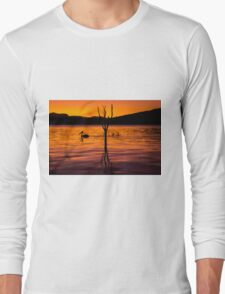 Pelicans swimming at sunset Long Sleeve T-Shirt