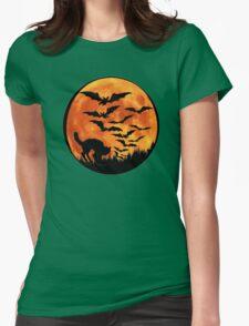 Halloween Bats Cat Womens Fitted T-Shirt
