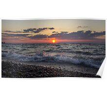 Crashing Waves at Sunset Poster