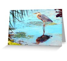 Great blue under palm Greeting Card