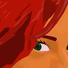 Girl with Red Hair and Green Eyes Looking Directly at You by ibadishi