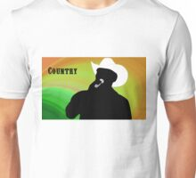 Silhouette of a Country Singer with Green and Orange Bacground Unisex T-Shirt