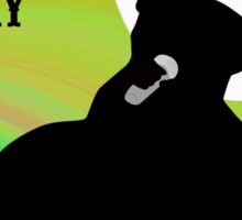 Silhouette of a Country Singer with Green and Orange Bacground Sticker