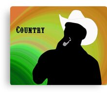 Silhouette of a Country Singer with Green and Orange Bacground Canvas Print