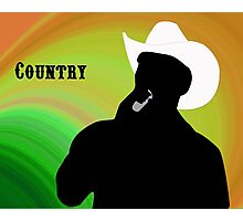 Silhouette of a Country Singer with Green and Orange Bacground Photographic Print