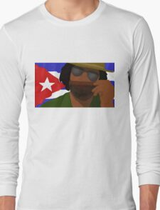 Funny Cuban Smelling Cigar, Cuban Flag on the Background Long Sleeve T-Shirt