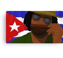 Funny Cuban Smelling Cigar, Cuban Flag on the Background Canvas Print