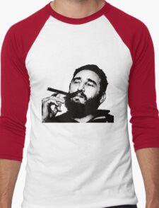 Young Fidel Castro Smoking Cigar Men's Baseball ¾ T-Shirt