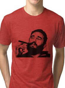 Young Fidel Castro Smoking Cigar Tri-blend T-Shirt