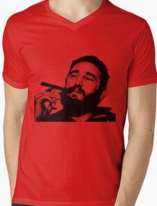 Young Fidel Castro Smoking Cigar Mens V-Neck T-Shirt