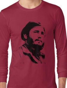 Young Fidel Castro with a Dreamy Look and Beret Long Sleeve T-Shirt