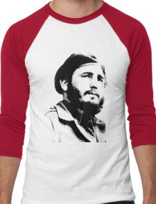Young Fidel Castro with a Dreamy Look and Beret Men's Baseball ¾ T-Shirt