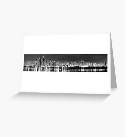 Dubai Marina and JBR Black and White Greeting Card