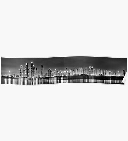 Dubai Marina and JBR Black and White Poster