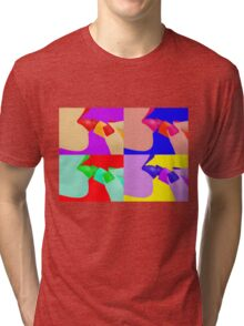 Colorful Pop Art of Lipstick on Sexy Lips Tri-blend T-Shirt