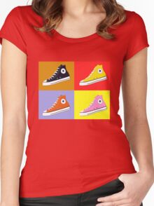 Pop Art All Star Inspired Hi Top Sneaker Women's Fitted Scoop T-Shirt