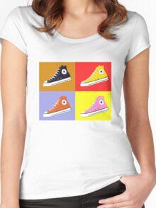 Pop Art All Star Inspired Hi Top Sneaker Women's Fitted Scoop T-Shirt