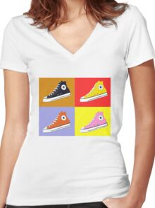 Pop Art All Star Inspired Hi Top Sneaker Women's Fitted V-Neck T-Shirt