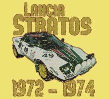 Vintage Look Lancia Stratos Retro Rally Car Kids Tee