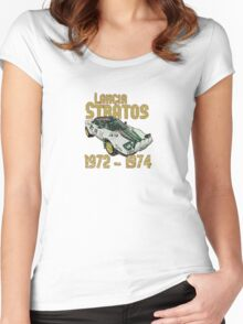 Vintage Look Lancia Stratos Retro Rally Car Women's Fitted Scoop T-Shirt