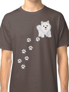 Cute Little Samoyed Puppy Dog and Pawprints Classic T-Shirt