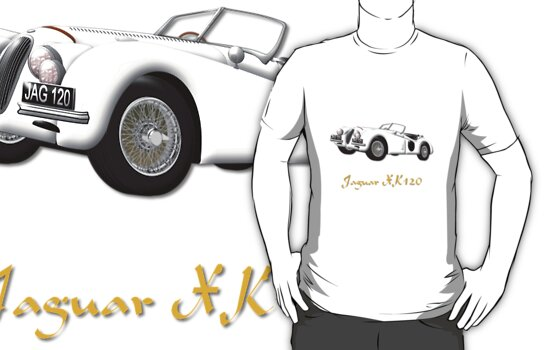 Jaguar XK120 T-shirt by Dennis Melling