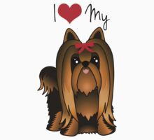 Cute Long Hair Yorshire Terrier Puppy Dog by ArtformDesigns