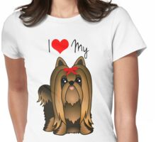 Cute Long Hair Yorshire Terrier Puppy Dog Womens Fitted T-Shirt