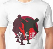 Silhouette of a Karate Fight, Japanese Flag in Background Unisex T-Shirt