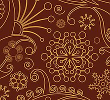 Oriental Persian Paisley, Swirls - Red Yellow by sitnica