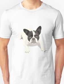 Black and White French Bulldog - Vector Art Portrait Unisex T-Shirt