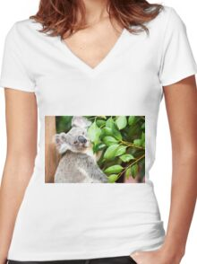 Koala by itself in a tree. Women's Fitted V-Neck T-Shirt