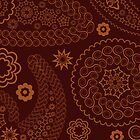 Oriental Persian Paisley, Flowers - Red Orange by sitnica