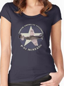 Vintage Look North American Aviation P-51 Mustang Fighter Women's Fitted Scoop T-Shirt