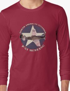 Vintage Look North American Aviation P-51 Mustang Fighter Long Sleeve T-Shirt