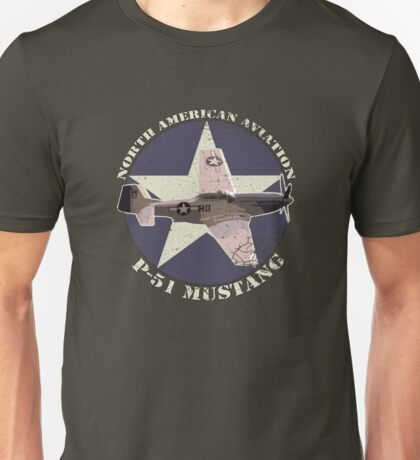 Vintage Look North American Aviation P-51 Mustang Fighter Unisex T-Shirt